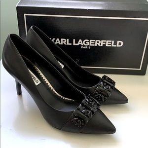 Karl Lagerfeld Paris Kid Leather Black Heels